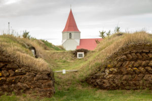 Iceland, Icelandic turf house, museum, church and old peat huts, grass roof, ring road,