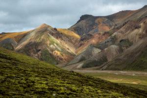 Island, Landmannalaugar, Rhyolithberge, grünes Moos vor farbigen Bergen, Lichtstimmung