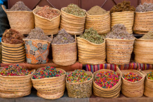 Baskets with dry blossoms and herbs, Marrakech, Morocco