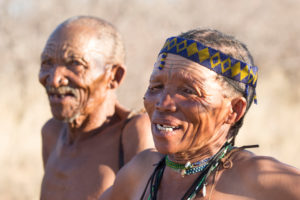 Man and woman of the tribe of the San, Kalahari, Namibia, Africa