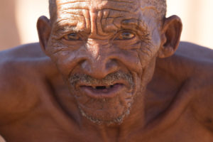 Old bushman of the tribe of the San, Kalahari, Namibia, Africa