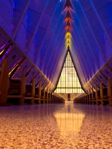 Colorado, United States Air Force Academy, Cadet Chapel, interior