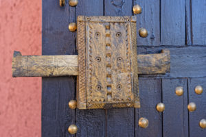 Ait Benhaddou, decorated, door handle, hand made, Morocco, wood, traditional