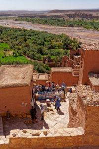 Ait Benhaddou, crafts vendor, Morocco, tourists, commerce, architecture