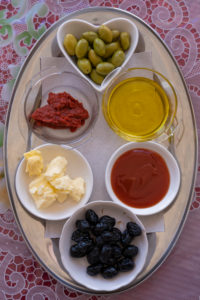 butter, Chez Rafiq Restaurant, condiments, food tray, High Atlas Mountains, Morocco, near Tizi n'Tichka mountain pass, olive oil, olives, condiments, health, diet