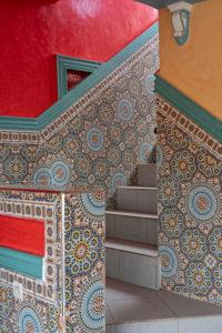 Cafe Restaurant Tizi Ait Barka, creative, High Atlas Mountains, Morocco, Tizi n'Tichka mountain pass, design, tiles, stairs