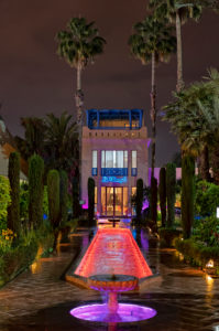 Arabic garden, Hotel Marriott Le Méridien N'Fis, Marrakech, Morocco, night, lighting