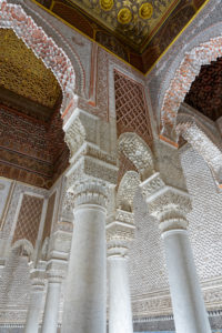 architecture, carved wood ceiling, creative, decorative alabaster, marble columns, Marrakech, Morocco, Saadian Tombs, Islamic, Arabic, religion, design, archaeology
