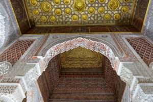 architecture, carved wood ceiling, creative, decorative alabaster, Marrakech, Morocco, Saadian Tombs, Islamic, Arabic, religion, design, archaeology