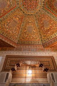 architecture, Bahia Palace, creative, decorative wood ceiling, Marrakech, Morocco,  Islamic, Arabic