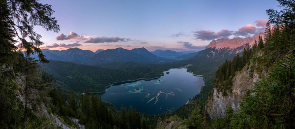 View of the Eibsee at dusk