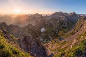 Sonnenaufgang über der Soierngruppe im Karwendel