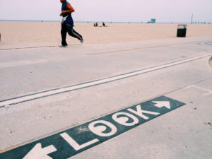 Jogger at Santa Monica Beach, California