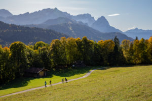 Autumn shot of family hiking near Pfeiffer-Alm near Garmisch-Partenkirchen, looking towards the Wetterstein Mountains with Alpspitze, Zugspitze, Waxensteinen and Berg Daniel (Austria), blue sky, hiking trail, trees, Garmisch-Partenkirchen, Upper Bavaria, Bavaria, southern Germany, Germany