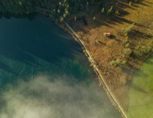 Aerial view mist over the Barmsee with walking path in autumn, hiking trail, lake shore, Bauernstadel, Krün, Garmisch-Partenkirchen, Upper Bavaria, Bavaria, southern Germany, Germany