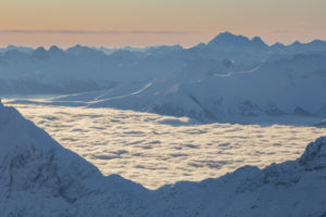 View from the Zugspitz summit in the winter towards the south (Italy), high fog, snow, mountain summit, Zugspitze, Grainau, Garmisch-Partenkirchen, Upper Bavaria, Bavaria, southern Germany, Germany