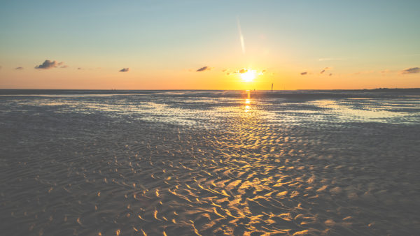 Towards the sun, sunset, atmospheric play of colors on the North Sea in the Wadden Sea, the seabed and endless expanse.