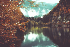A lake in the Bavarian alps in autumn,