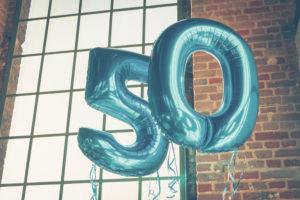 Balloon on fiftieth birthday