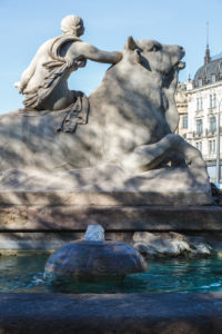 Beginning of spring at Wittelsbach Fountain, city centre, Munich