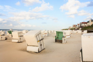 Beach chairs below the promenade on the island Wangerooge,