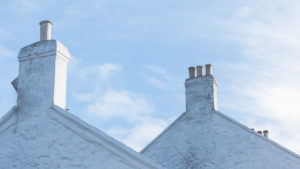 The chimneys, chimneys of a house at Lands End, Penzance, Cornwall, England, UK
