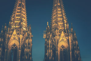 Cologne Cathedral, close-up of the blue hour towers