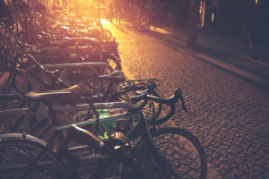 Bicycles - romantic mobility in the city at sunset.