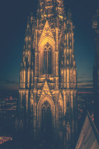 The Cologne Cathedral. Even at night an impressive, Gothic building. - Editorial use only.