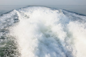 Sea, water, silence and water power, the bow wave and the spray.