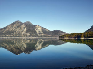 Walchensee, view from the east bank to the west on the Herzogstand