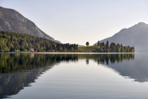 Walchensee, view from the south bank to the peninsula Zwergern and Jochberg