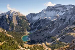 View of  Soiern Cirque with Soiernseen Lakes and Soiernspitze Peak as well as Soiernhaus Alpine Club Hut from Schöttelkarspitze Peak