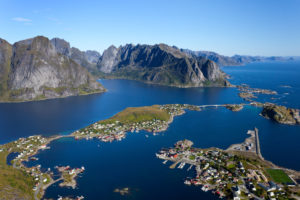 Reinebringen, Aussicht, Blauer Himmel, Reine, Dorf, Fjord, Lofoten, Nordland, Norwegen