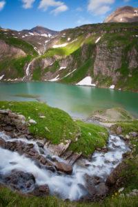 Brook, mountain lake, Albitzenspitz, Spielmann (mountain), snow, High Tauern national park, Austria