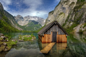 Obersee, hut, lake, reflection, Alps, National Park Berchtesgaden, Germany