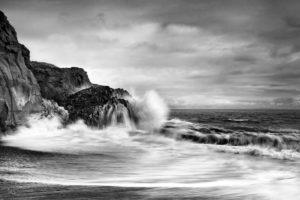 Coast, waves, rocks, the Atlantic, Iceland, b/w,