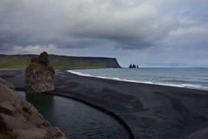 Vik, bay, coast, sand, beach, volcanic, Iceland