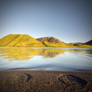 Hochland, Hügel, Landmannalaugar, See, Fußabdrücke, Vulkanisch, Island
