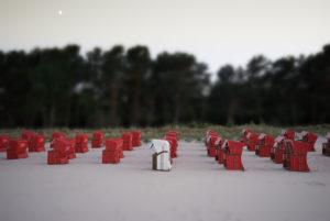 Beach chairs, Red, white, beach, Binz, Germany