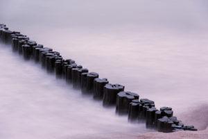 Breakwater, sunset, beach, long time exposure, the Baltic Sea, Darss, Zingst, Germany