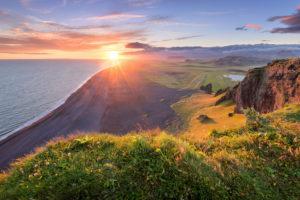 Sun, sunset, beach, cliffs, Klifandi, Dyrholaey, Iceland, Europe