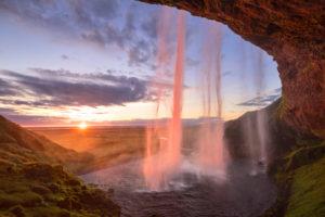 Sun, sunset, waterfall, Seljalandfoss, Seljaland, Iceland, Europe