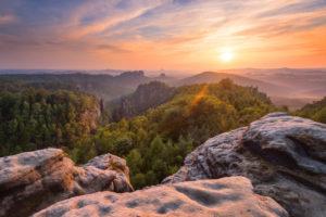 Sunset, Carolafelsen, view, Saxon Switzerland, Elbe Sandstone Mountains, Germany, Europe