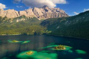 Summer, aerial view, islands, Eibsee, Zugspitze, Garmisch-Partenkirchen, Bavaria, Germany, Europe
