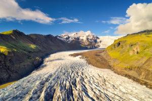 Glacier, mountains, glacier tongue, aerial view, Svinafellsjökull, Iceland, Europe