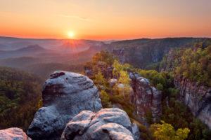 Sun, sunrise, Heringstein, outlook, Saxon Switzerland, Elbe Sandstone Mountains, Germany, Europe