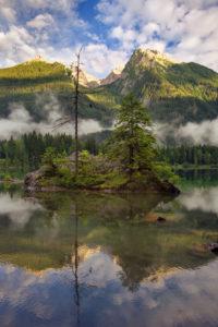 Summer, mountains, lake, Alps, Hochkalter, Hintersee, island, Bavaria, Germany, Europe