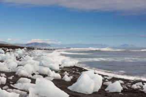 Glacier, mountains, glacier tongue, aerial view, Skaftafelljökull, Iceland, Europe