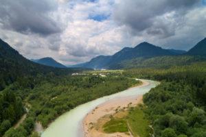 Summer, aerial view, river, Isartal, Isar, Bavaria, Germany, Europe